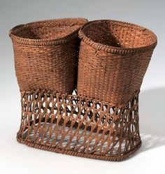 Africa | Basket from the Nkundo people of Bolengi, Belgian Congo | Plant fiber and wood | ca. 1910