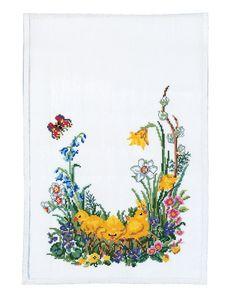 Rosenstand, Löpare Kyckling linne, 023281, Broderas med moulinégarn i räknade kors- och efterstygn på blekt linne, 10 trådar/cm