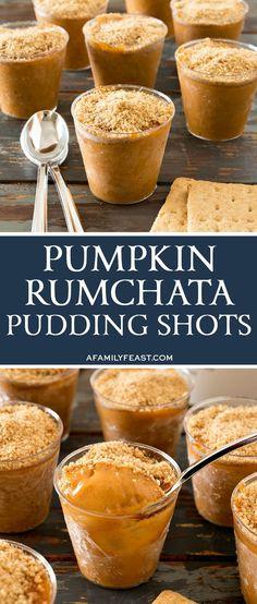 Rumchata Pudding Shots Pumpkin Rumchata Pudding Shots are a delicious make-ahead dessert!Pumpkin Rumchata Pudding Shots are a delicious make-ahead dessert! Pudding Shot Recipes, Jello Shot Recipes, Alcohol Drink Recipes, Jello Shots, Coctails Recipes, Desserts With Alcohol, Alcoholic Desserts, Köstliche Desserts, Dessert Recipes