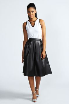 Lucy Over The Knee Box Pleat Wet Look Skirt. Even though this skirt is a little bit different, i still loove it!