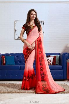 Designer Printed Georgette Sarees For The event Wear . Wear This Saree And Get Stylish Look.