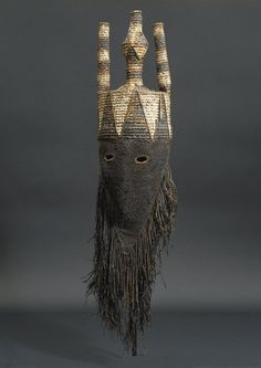 Africa | Mask for the Idangani Society, Akish, from the Salampusa people of Lulua Province, DR Congo | Cloth, pigment, wicker and fiber | ca. early 1900s
