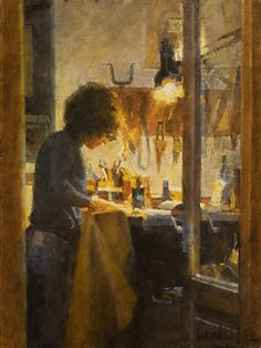 """Leatherworker by James Crandall Oil ~ 24"""" x 18"""""""