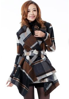 Coffee Plaid Belt Cape Type Irregular Fashion Vintage Wool Coat - Outerwears - Tops