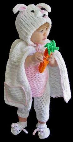 Maggie's Crochet · Bunny Romper Set Crochet Pattern #crochet #pattern #Easter #cute #festive #baby #Halloween #costume