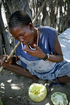 A Bushman woman chews the flesh of a melon for its moisture in the village of Metsiamenong.    Traditionally, the Bushmen find water in 'pans' – rain-filled depressions in the sand – and from plants such as tsamma melons and roots, techniques learned over thousands of years of surviving in the desert during the dry seasons, when the water-holes of the Kalahari sand-face turn to dust. 'You learn what the land tells you,' says Gana Bushman Roy Sesana.
