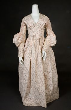 Red on White Calico Dress, 1838-1840, via Whitaker Auctions. Love the sleeve pouf at the elbows!