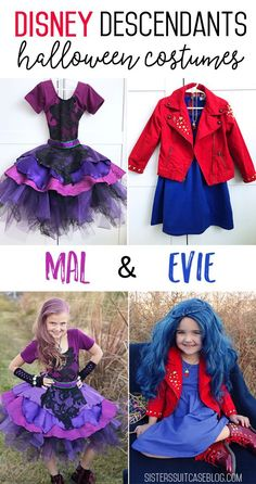 Disney Descendants 2 Costumes: Mal & Evie - l Mal Halloween Costume, Couple Halloween, Halloween Kostüm, Vintage Halloween, Mouse Costume, Devil Costume, Halloween Makeup, Mal Descendants Costume, Disney Descendants Mal
