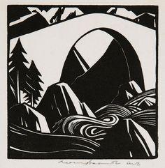 Leonard Beaumont, Mountain Torrent, 1936, linocut. Photo © Museums Sheffield by Museums Sheffield, via Flickr