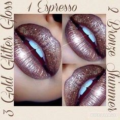 Trendy #fallfashion New Espresso #LipSense layered with #BronzeShimmer LipSense and Gold Glitter #Gloss