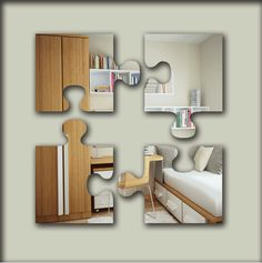 Puzzle piece mirror use multiple mirrors for large accent wall acrylic puzzle pieces safety mirrors range of sizes gumiabroncs Image collections
