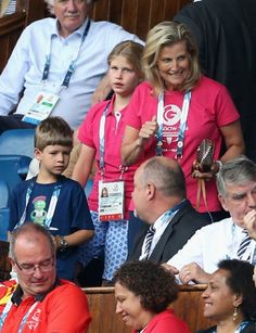 Sophie, Countess of Wessex and her children James, Viscount Severn and Lady Louise Windsor watch Scotland Play New Zealand in the Rugby Severns at the Ibrox Stadium during the CGames, 26.07.2014 in Glasgow, Scotland.