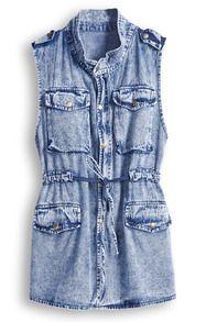 Blue Sleeveless Drawstring Waist Epaulet Denim Jacket