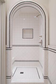 black & white tile shower