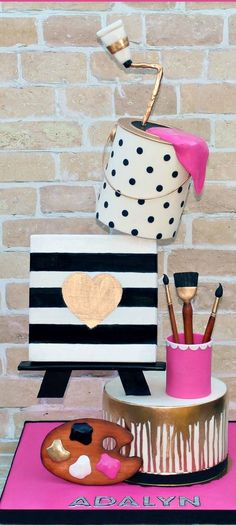 Art Themed Cake with Stripes and Polka Dots