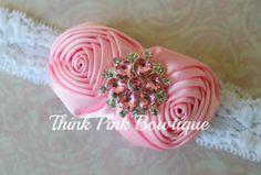 Pink HeadbandBaby headband flower headband por ThinkPinkBows, $9.95