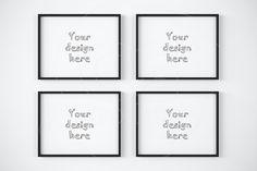 4 black frame on white wall mockup. Printables. $9.00