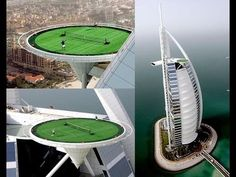 "The most highest tennis court in the world is on top of the fourth adjustment hotel ""Burj Al Arab"" - among the leading luxury hotels and high in the world. S..."