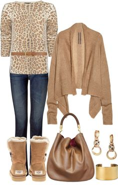 A fashion look from October 2012 featuring tan cardigan, leopard sweater and light wash bootcut jeans. Browse and shop related looks. Winter Outfits, Casual Outfits, Cute Outfits, Fashion Outfits, I Love Fashion, Fashion Women, Estilo Fashion, Complete Outfits, Swagg