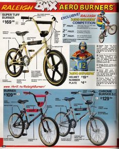 """Early days - above and below, a two page advertisement featured in """"Look-In"""" magazine, THE RACE IS ON BMX is the bike. Vintage Bmx Bikes, Vintage Cycles, Old Bikes, Retro Bikes, Retro Bicycle, Subaru, Raleigh Burner, Raleigh Bikes, Gt Bmx"""