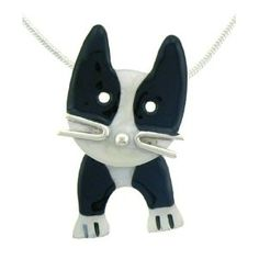 Black & White Cat Face w/ Swinging Legs Pendant Necklace