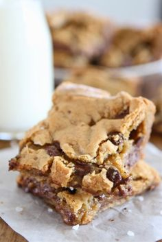 Chocolate Chip Salted Caramel Cookie Bars on twopeasandtheirpod.com One of my favorite desserts!