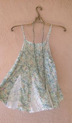 Free People Resort Romantic flowy mint floral with lace insets camisole
