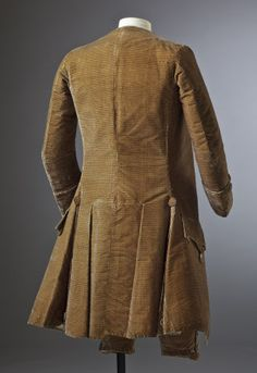 Back view, formal 3-piece suit, c.1770. Brown silk velvet. (costume collection at Ham House, Surrey)