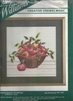 "Elsa Williams Prized Basket of Apples Crewel Kit Michael LeClair 00298 USA 16"" #ElsaWilliams"