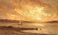 Edward Mitchell Bannister boat on sea painting