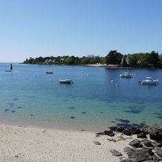 View of Sainte-Marine Bay side, from Benodet beach, Finistere, Brittany.  #benodet #finistere #brittany