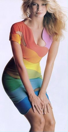 Vintage THIERRY MUGLER rainbow dress sz 40 spring summer 1990 Iconic dress sexy