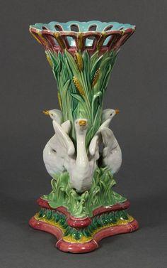 Majolica Swan and Cat Tail Vase