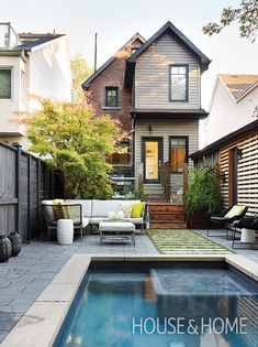 A long, narrow lot was no obstacle to the pool-loving owners of this downtown house. | Photographer: Virginia Macdonald | Designer: Joel Loblaw