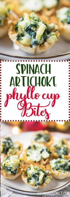 These Baked Spinach Artichoke Dip Cup Bites are the perfect party appetizer recipe! via These Baked Spinach Artichoke Dip Cup Bites are the perfect party appetizer recipe! via Go Go Go Gourmet Spinach Appetizers, Finger Food Appetizers, Christmas Appetizers, Appetizer Dips, Appetizers For Party, Appetizer Recipes, Phyllo Appetizers, Christmas Recipes, Christmas Cup