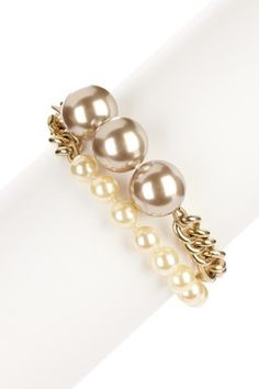 Double Strand Gold Ball and Pearl Bracelet