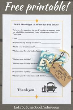 Getting to know your bus driver - a free printable, and simple gift ideas, from Let's Do Some Good Today. An easy act of kindness!