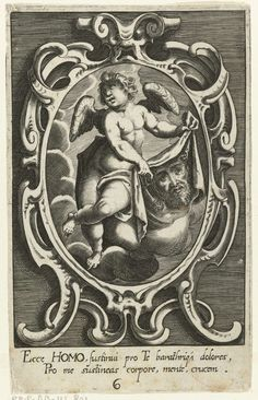 Cartouche met engel met passiewerktuig: zweetdoek van Veronica, Raphael Custos, Lucas Kilian, 1620