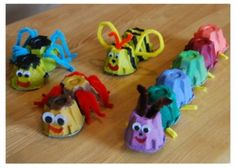 Egg Carton Bugs, test difficulty level of pushing pipecleaners all the way through. Pair with eric carle lesson?