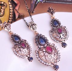 New Arrival Turkish Fashion Jewelry Women Best Bridal Necklace Earring Indian Accessories For Women Vintage Turkish Jewelry set-in Jewelry Sets from Jewelry & Accessories on Aliexpress.com   Alibaba Group