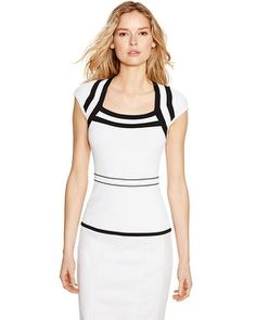 Cap Sleeve Black and White Bandage Pullover
