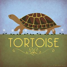 "Tortoise Print Original Design Animal Alphabet Poster Art Deco Vintage 1930's 1940's Childrens Baby Nursery 7x7"" Square Cute Beautiful Retro"
