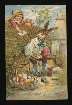 Easter Dressed Rabbit  Paints Eggs children c. 1908 Embossed Postcard-kkk407