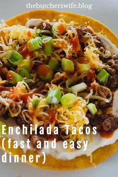 EASY DINNER! Enchilada Tacos- enchilada taco meat on top of a crispy tostada shell! Tacos, Tostadas, Food Out, Good Food, Meal Ideas, Dinner Ideas, Fast Easy Meals, Tex Mex, Enchiladas