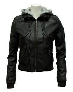 Ladies Black Synthetic Full Zip Up Leather Jacket Detachable Hoody