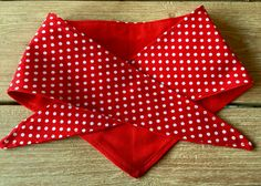 Polka dot quality fabric dog bandana with a vibrant red contrasting material by TheVintageBuntingCo on Etsy