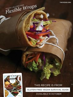 Tortilla-Style Flexible Wraps (Gluten-Free Grain-Free AND Vegan!) (The Vedge) Gluten Free Wraps, Vegan Gluten Free, Dairy Free, Allergy Free Recipes, Vegan Recipes, Cooking Recipes, Candida Recipes, Budget Recipes, Easy Cooking