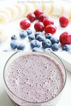Refreshing clean eating dessert of grape blueberry smoothie. It's a great clean eating snack for your clean eating diet and meal plan. Healthy Work Snacks, Healthy Smoothies, Easy Healthy Recipes, Healthy Drinks, Smoothie Recipes, Snack Recipes, Dessert Recipes, Eating Healthy, Paleo Recipes