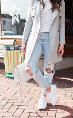 Via glitter & gingham / trench coat & boyfriend jeans korea spring fashion Spring Outfits Japan, Spring Fashion Outfits, Japan Spring Outfit Travel, Korea Spring Fashion, Korean Spring Outfits, Fashion Boots, Spring Korea, Fashion Sandals, Casual Outfits For Teens