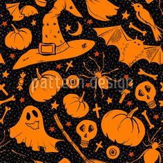 Dark Halloween - Halloween pattern design with enchanted items. Halloween Vector, Halloween Patterns, Halloween Halloween, Vector Pattern, Pattern Design, Halloween Stoff, Starter Set, Repeating Patterns, Surface Design